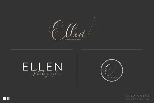 Calligraphic Logo design with gold effect