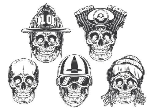 Set of skulls - firefighter, bikers, rasta and original. Vintage label, logotype, emblem. Vector illustration. Isolated on white background.