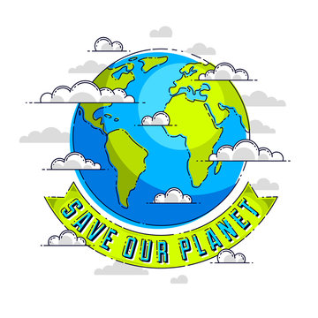 World international Earth Day concept, eco ecology, climate changes, Earth Day April 22, planet with ribbon and typing vector emblem or illustration isolated over white background.