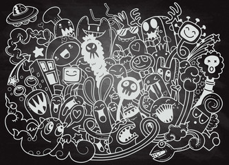 Vector illustration of Doodle cute Monster background ,Hand drawing Doodle