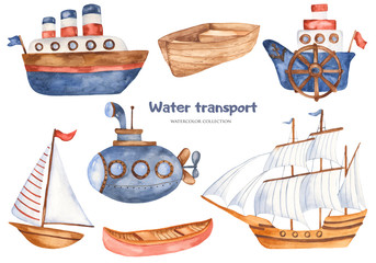 Watercolor set with cute kids cartoon ships and submarine. Great for baby shower, birthday, invitations, invitation cards, blogs, summer projects.
