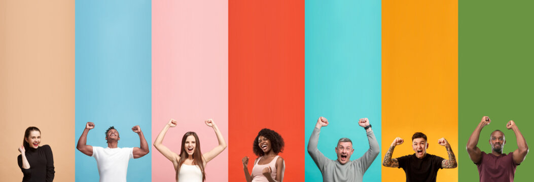 Young attractive people looking celebrating on multicolored backgrounds. Young emotional surprised men and women. Winners. Human emotions, facial expression concept. Trendy colors. Creative collage.