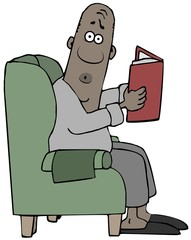 Startled man reading a book