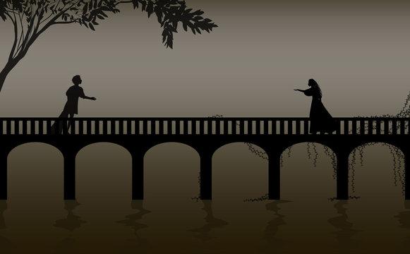 romeo and juliet shakespeare s play, date,verona bridge silhouette, love story,