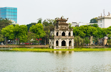 Turtle tower in Hoan Kiem lake,Hanoi,Vietnam Wall mural