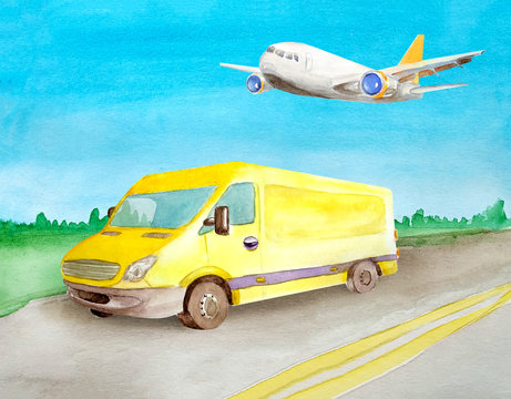 Watercolor yellow van truck rides a load on the asphalt road. Background of daytime summer landscape.