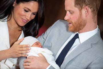 Britain's Prince Harry and Meghan, Duchess of Sussex with their baby son at Windsor Castle