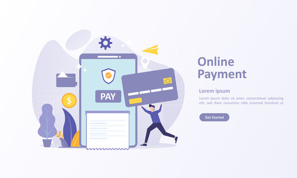 Online Payment concept, People character transfer money with atm on smartphone. Suitable for web landing page, ui, mobile app, banner template. Vector Illustration