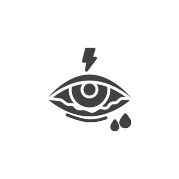 Conjunctivitis eye vector icon. Watery eye filled flat sign for mobile concept and web design. Eyes allergy glyph icon. Symbol, logo illustration. Pixel perfect vector graphics