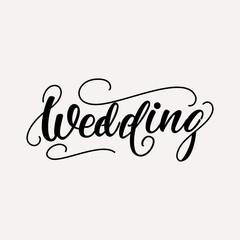 Wedding - lettering design. Vector illustration.