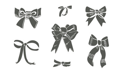 Set of  sepia silhouette  bows. Hand drawn ink and inverted sketch. Different objects  isolated on white background.