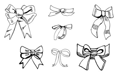 Collection of  monochrome  bows. Hand drawn ink sketch. Different elements  isolated on white background.