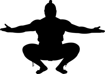 Sumo 9 isolated vector silhouette