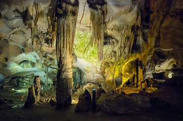Orlova Chuka cave, Russe, Bulgaria. The cave is home for 14 species of bats and green microorganisms.