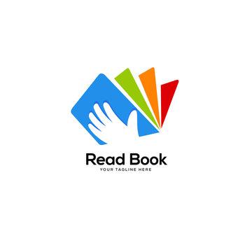colorful hand open book logo designs, education logo designs concept