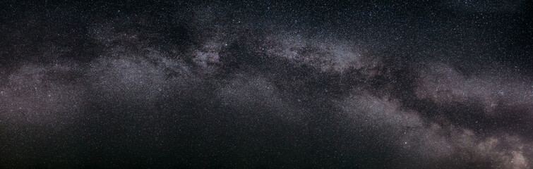 Real Night Sky Stars With Milky Way Galaxy. Natural Starry Sky Background. Panorama Panoramic View