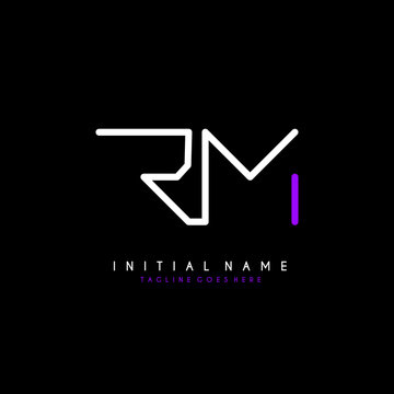 Initial R M RM minimalist modern logo identity vector