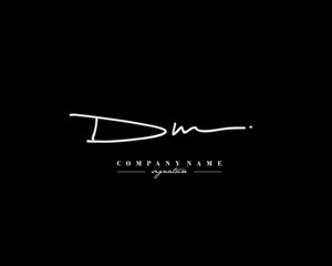 D M DM Signature initial logo template vector