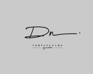 D N DN Signature initial logo template vector