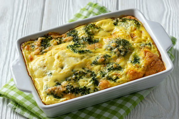 Broccoli casserole with eggs and cheese, vegetarian food.