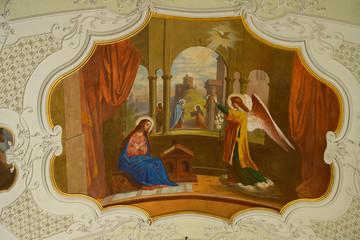 """""""Maria Verkündigung"""", Deckengemälde der Klosterkirche, Engelberg OW, Schweiz"""