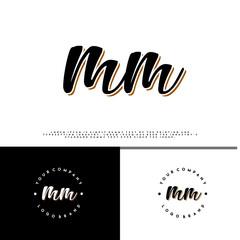 M MM initial name vintage logo vector