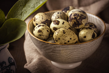 Ceramic bowl full of small spotted quail eggs on wooden board
