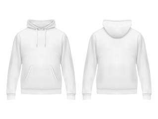 Realistic white hoodie or hoody for man,sweatshirt