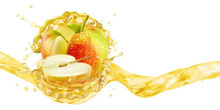 Fresh ripe apple, apple slice and juice or cider vinegar splash wave. Fruit drink liquid design element. Tasty apples fruit juice splashing isolated, healthy detox diet concept. 3D