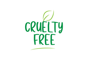 cruelty free green word text with leaf icon logo design Wall mural