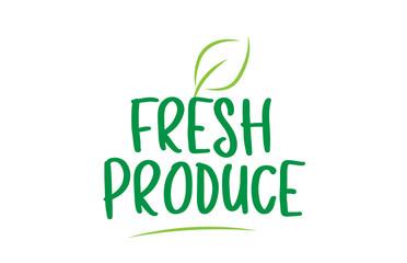 fresh produce green word text with leaf icon logo design