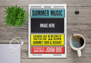 Colorful Summer Music Flyer Layout with Graphic Accents