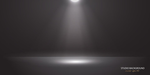 Black background with ray of light .Studio background vector .Vector spotlight. Light effect .