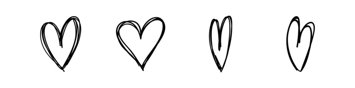 Hand drawn hearts. Hand drawn love symbol collection. Grunge illustrated heart set.