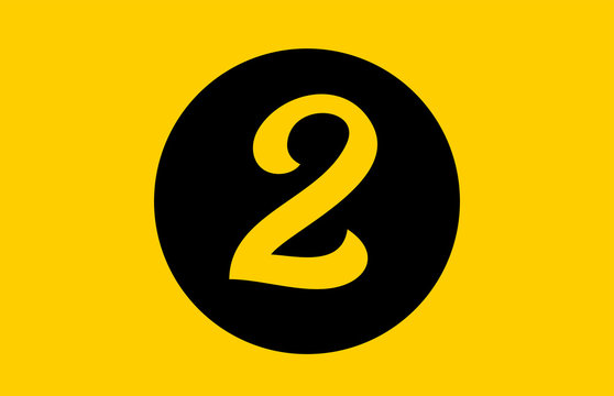yellow number 2 logo icon design with black circle