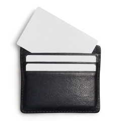 Black leather wallet with blank cards, isolated on white background