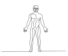 Man standing in anatomy position Continuous line