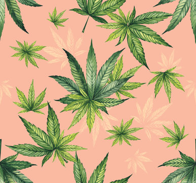 Watercolor pattern of hemp leaves on a coral background. Fine print for fabric.