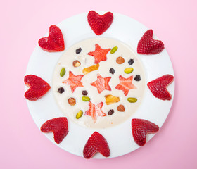 delicious smoothie with strawberry's heart and stars
