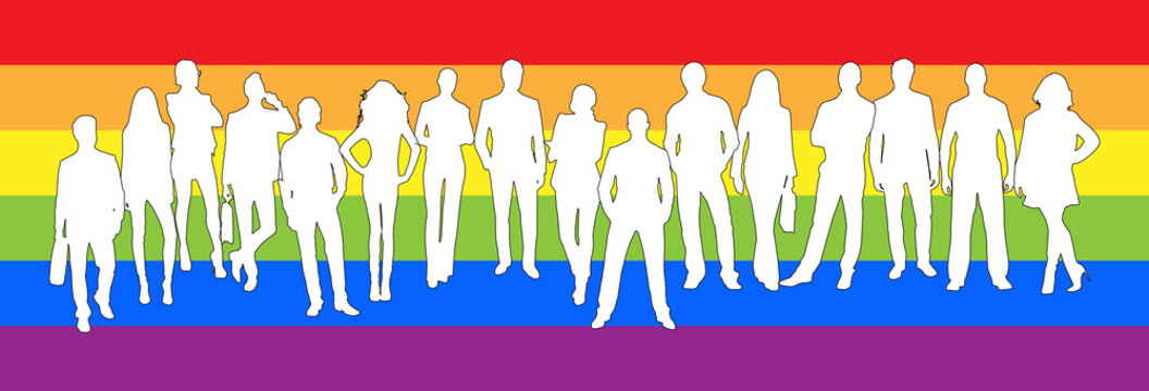 Silhouettes of men and women on the background colors of the LGBT