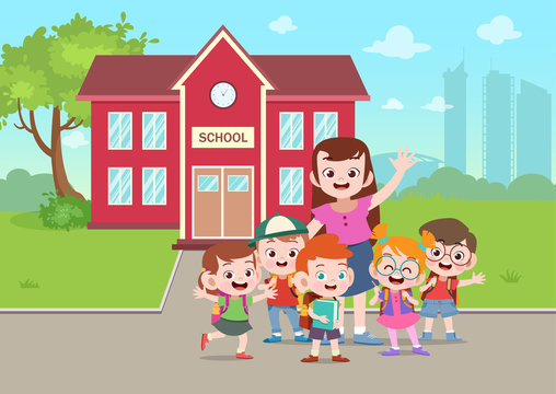 teacher and student go to school vector illustration