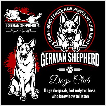 German Shepherd - vector set for t-shirt, logo and template badges