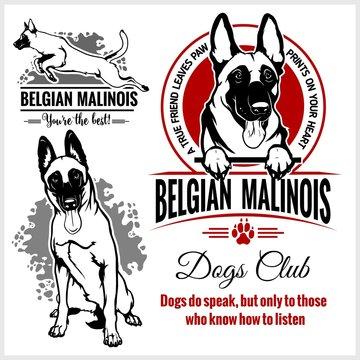 Malinois, Belgian Malinois, Belgian Shepherd Dog - vector set for t-shirt, logo and template badges