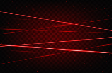 Red realistic laser beam background. Laser rays iolated on transparent background. Modern style abstract. Bright shiny lasers pattern. Vector illustration Wall mural