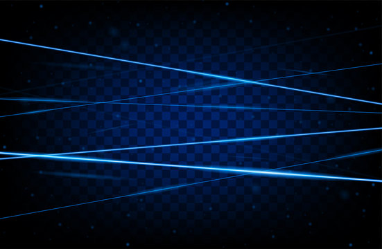 Blue realistic laser beam background. Laser rays iolated on transparent background. Modern style abstract. Bright shiny lasers pattern. Vector illustration