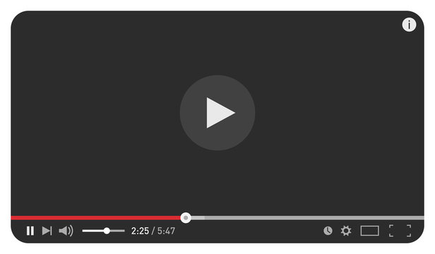 Modern black video player design template for web and mobile apps flat style. Vector illustration