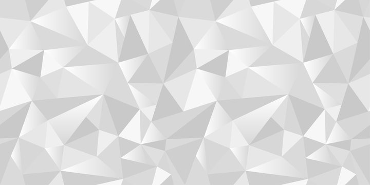White abstract gradient geometric rumpled triangular seamless low poly style vector illustration graphic background. Rampled paper style background. Vector illustration