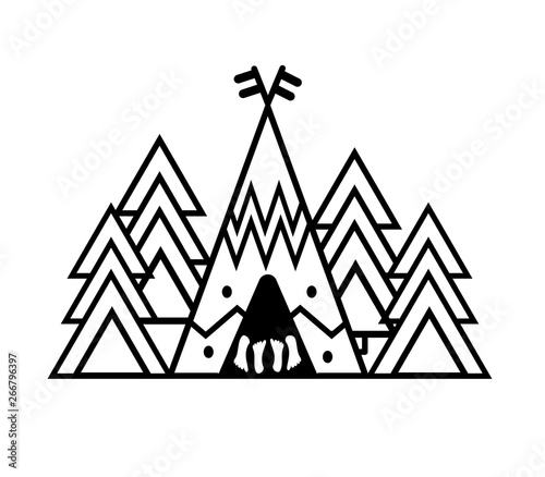 Outdoor sticker wigwam, trees  Camp in a pine forest  Emblem