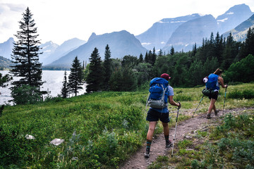 Women Backpacking in Glacier National Park in Montana During Summer Wall mural