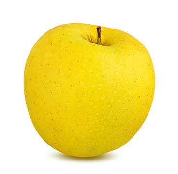 Fresh yellow apple isolated on white background with clipping path